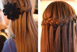 плетение водопада на средние волосы
