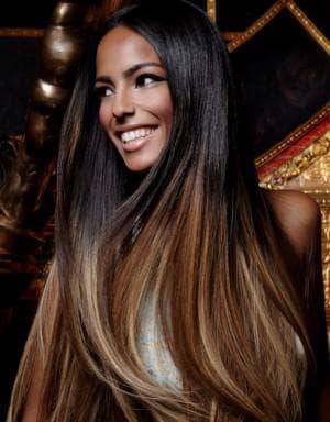 карамель и чёрный цвет волос