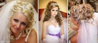 свадебные прически с челкой и диадемой