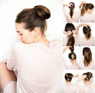 как быстро сделать шишку из волос