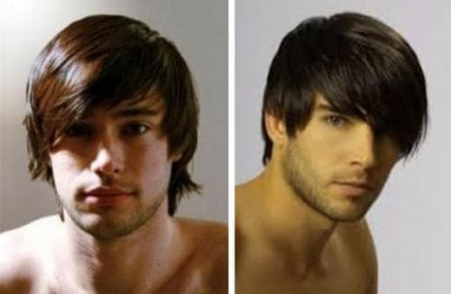 причёска с боковой чёлкой на круглое лицо для мужчин