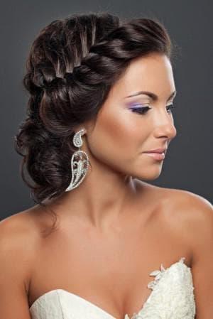 греческая коса без чёлки на средние волосы