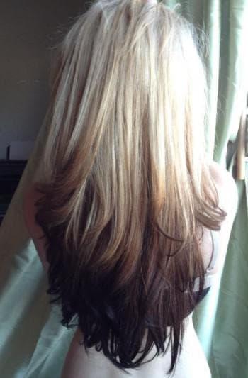 покраска в два цвета темных волос
