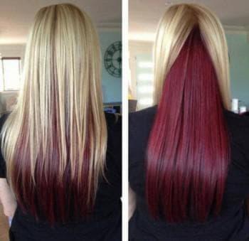 покраска в два цвета светлых волос