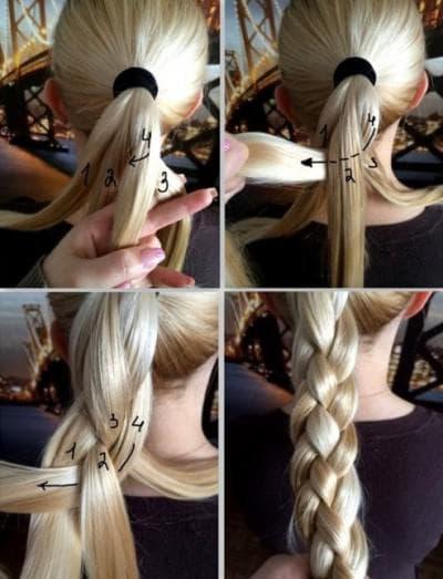 Как плести четырехпрядную косу