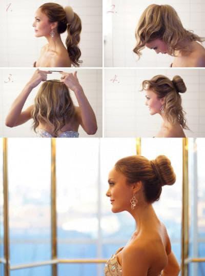 как собрать волосы в красивый пучок