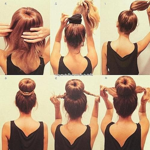 как собрать волосы средней длины в красивый пучок