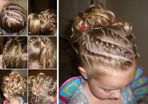 детская причёска четыре дорожки