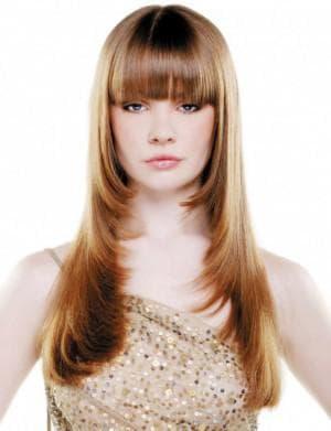 стрижка лесенка с чёлкой на длинные волосы