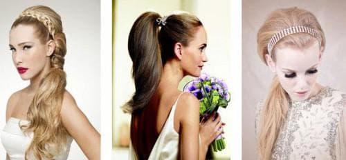 свадебная причёска конский хвост под фатой