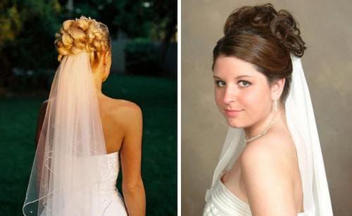 свадебная причёска высокая укладка под фатой