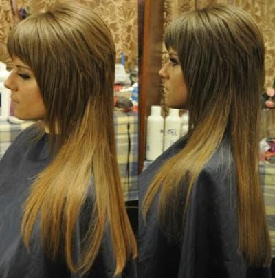 стрижка шапочка с чёлкой на длинные волосы
