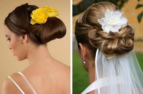 свадебная причёска узлы под фатой