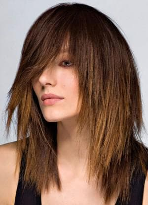 стрижка лесенка с рваной чёлкой на длинные волосы