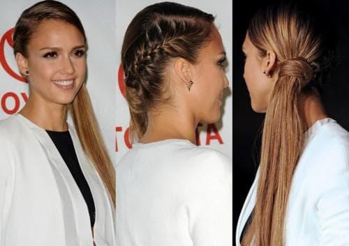 хвост на одну сторону на длинные волосы