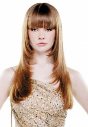 стрижка каскад с чёлкой на длинные волосы