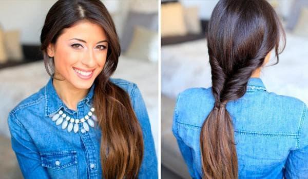 вывернутый хвост на длинные волосы