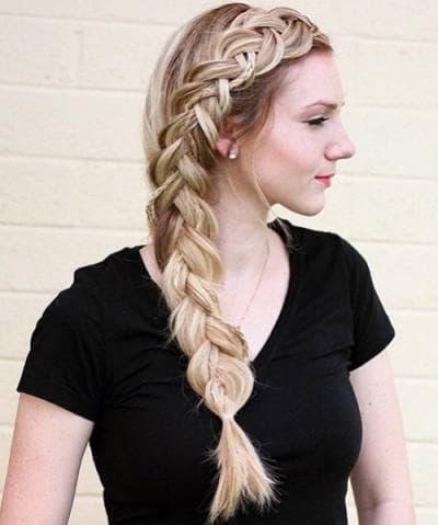 боковая коса на длинные волосы