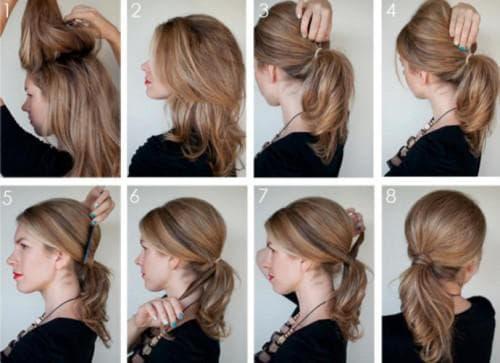 хвост с начёсом на длинные волосы