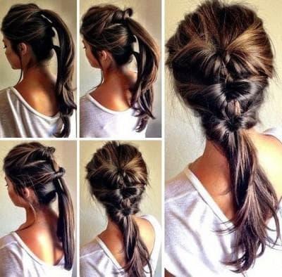 повседневная прическа хвостик на средние волосы