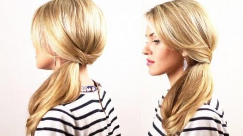 повседневная прическа хвостик с чёлкой на средние волосы