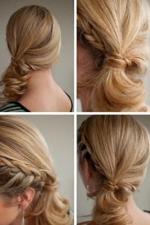повседневная прическа хвост с косой на средние волосы