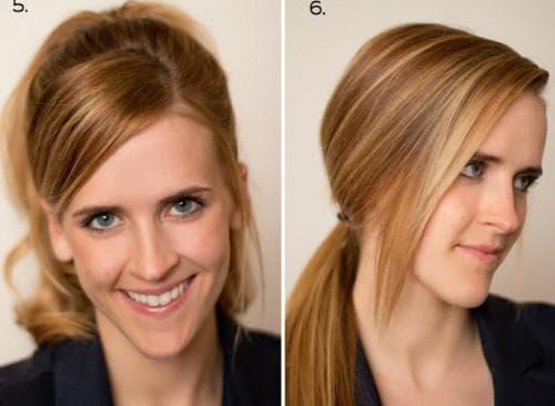 повседневная прическа с чёлкой на средние волосы