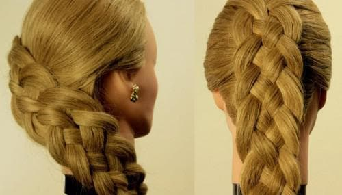 четырёхрядная коса на средние волосы