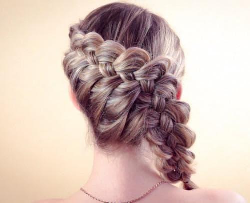 коса из четырех прядей на бок