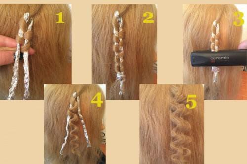 как накрутить волосы средней длины утюжком и фольгой