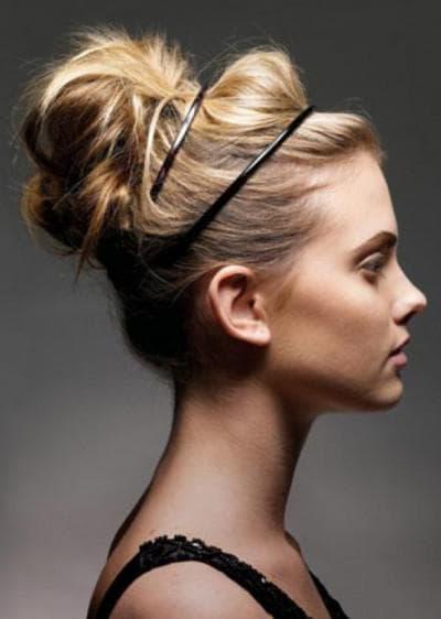 пучок кэжуал на средние волосы
