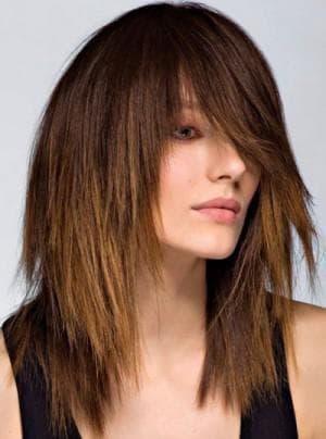 рваная стрижка на длинные волосы с чёлкой