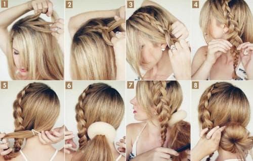 прически с валиком для волос с косичкой