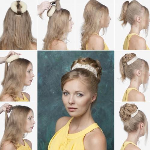 прически с валиком для волос и хвостиком
