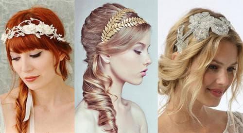 свадебная прическа с лентой на длинные волосы с челкой