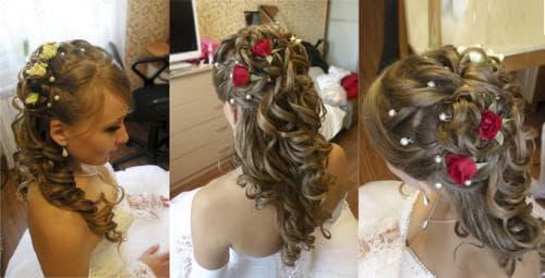 свадебная прическа с цветами на длинные волосы с челкой