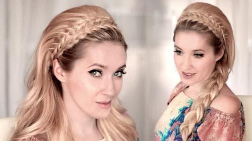 ободок из кос на длинные волосы