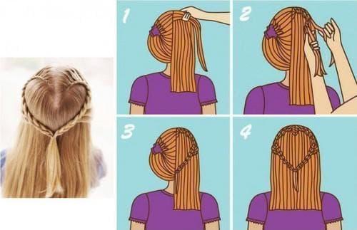 прическа сердечко с плетением на средние волосы