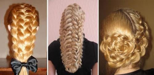 узел из ажурных кос на средние волосы