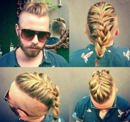 длинная мужская стрижка с косой