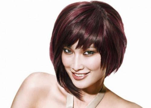 асимметричная чёлка на волосы средней длины
