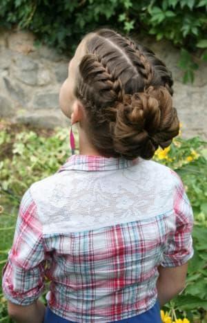 пучок из косы для девочки
