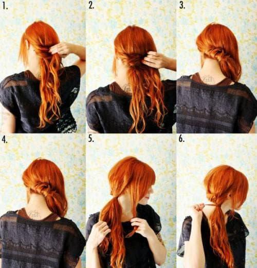 лёгкая красивая причёска с витым хвостом