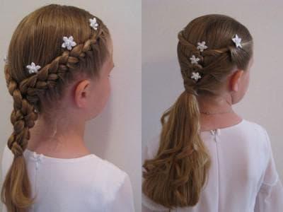 универсальная прическа с косами для девочки