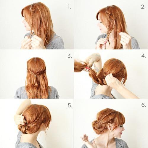 лёгкая красивая Завернутая коса