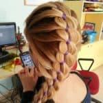 плетение косы из 4 прядей с лентой
