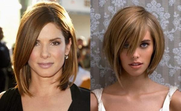 причёска на треугольное лицо с чёлкой