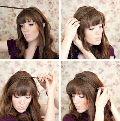 косичка-обруч на короткие волосы