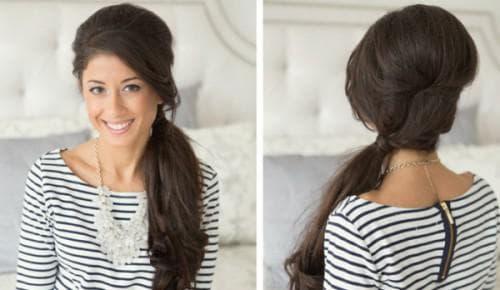 хвост с боку на длинные волосы