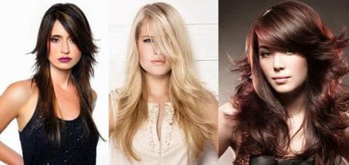 причёска с косой челкой на длинные волосы